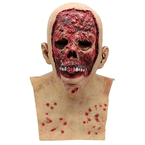 LiPing Cosplay Bloody Zombie Mask Melting Face Latex Mask for Men Women Party Christmas Halloween Costume Mask (A) -