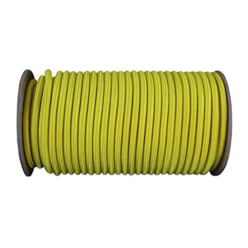 Shock Cord 1/4 inch - SGT KNOTS - Marine Grade Dacron Polyester Bungee - 100% Stretch - Moisture, UV, Weather Resistant - DIY Projects, Tie Downs, Commercial, Indoor, Outdoor (10 feet - Yellow) by SGT KNOTS (Image #1)