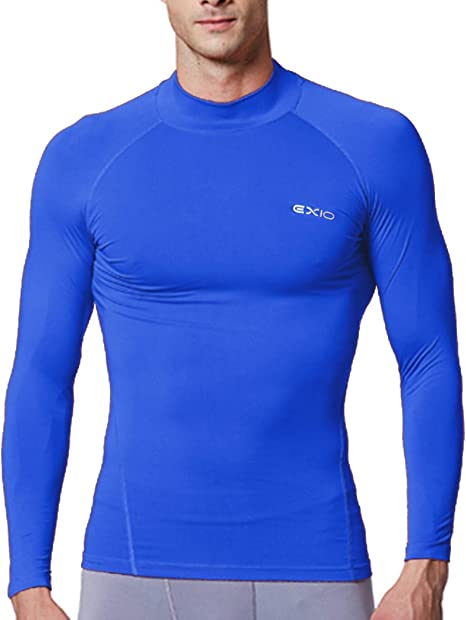 EXIO Mens Mock Compression Baselayer Top Cool Dry Long Sleeve Shirt EX T02