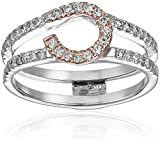 14k White Gold Shank and Rose Gold Top Solitaire Enhancer Wedding Band (Fits 1/4-1/2carat Round Solitaire), Size 7