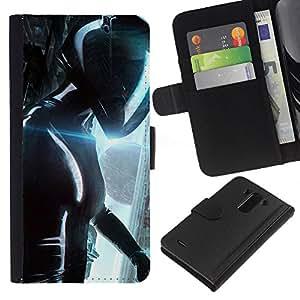 KLONGSHOP // Tirón de la caja Cartera de cuero con ranuras para tarjetas - Camino al Futuro helicn - LG G3 //