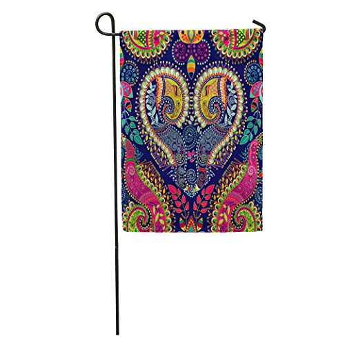 Semtomn Garden Flag Pattern Colorful Paisley Original Indian Ethnic Batik Floral India Flower Home Yard House Decor Barnner Outdoor Stand 12x18 Inches - Tibetan Chinese Carpet