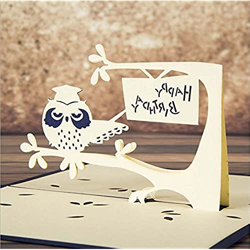 MADE4U Owl Kirigami Papercraft 3D Pop Up Card Anniversary Baby Birthday Easter Halloween Mother's Day New Home Sales