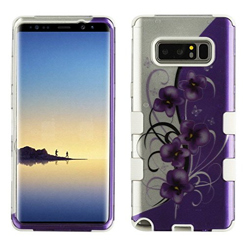MyBat Cell Phone Case for Samsung Galaxy Note 8 - Twilight Petunias (2D Silver)/Solid White Image