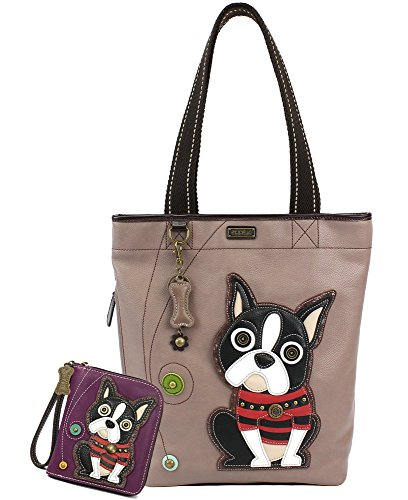 - Chala Handbags Big- Everyday Tote Women Handbag with Zip Around Wallet (Boston Terrier)