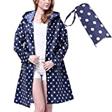 Old Tjikko Rain Coat,Waterproof Raincoat,Portable Rain Poncho for Unisex,Women Polka Dot with Pockets