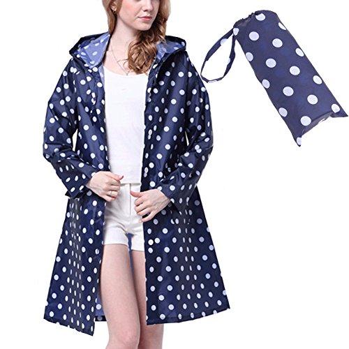 Old Tjikko Rain Coat,Waterproof Raincoat,Portable Rain Poncho for Unisex,Women Polka Dot with Pockets