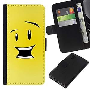 KLONGSHOP // Tirón de la caja Cartera de cuero con ranuras para tarjetas - Feliz Divertido Smiley - LG Nexus 5 D820 D821 //
