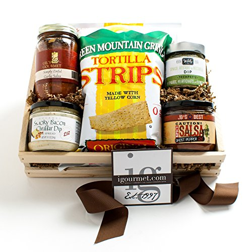 KaBloom Gift Basket Collection: Gourmet Chips and Dips Gift Crate of Salsas, Cheese Dips, Spreads and Chips