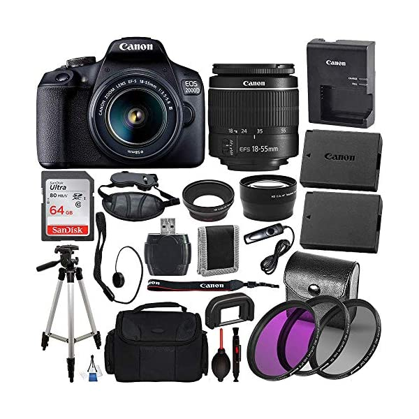 """Canon EOS 2000D (Rebel T7) Digital SLR Camera with 18-55mm DC III Lens Kit (Black) Professional Accessory Bundle Package Includes: SanDisk Ultra 64GB SDXC Memory Card + 50"""" Tripod + Filters and More"""