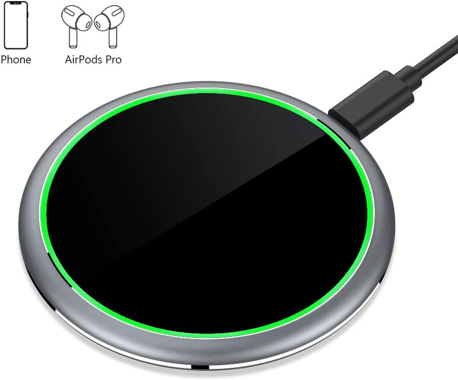 Yootech 7.5W/10W/15W Metal Wireless Charger,15W Max Wireless Charging Pad Compatible with iPhone SE 2020/11/11 Pro/11 Pro Max,LG V50/V40/G7,Galaxy S20/S10,Pixel 3/4XL, AirPods Pro (No AC Adapter)