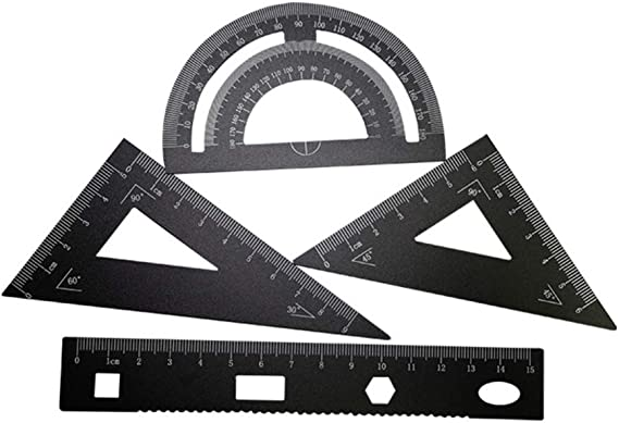 minansostey Aluminum Alloy Straight Ruler Multifunctional Protection Anti Slip Drawing Tool