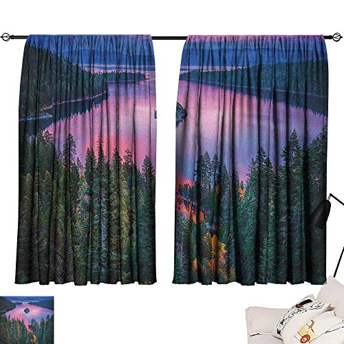 Beihai1Sun Lake décor Darkening Curtains High Angle Majestic View of North American Freshwater Lake Outdoor Mother Earth Image Curtain Door Panel Green Pink W72 x L72