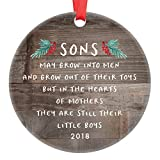 Gift for Son, Christmas Ornament 2018 Sons In The Hearts of Mothers Poem Present Idea, Mom from Young or Grown Child Xmas Ceramic Farmhouse Keepsake 3'' Flat Circle Porcelain with Red Ribbon & Free Box