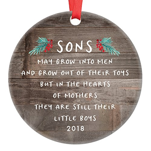 "Gift for Son, Christmas Ornament 2018 Sons In The Hearts of Mothers Poem Present Idea, Mom from Young or Grown Child Xmas Ceramic Farmhouse Keepsake 3"" Flat Circle Porcelain with Red Ribbon & Free Box"