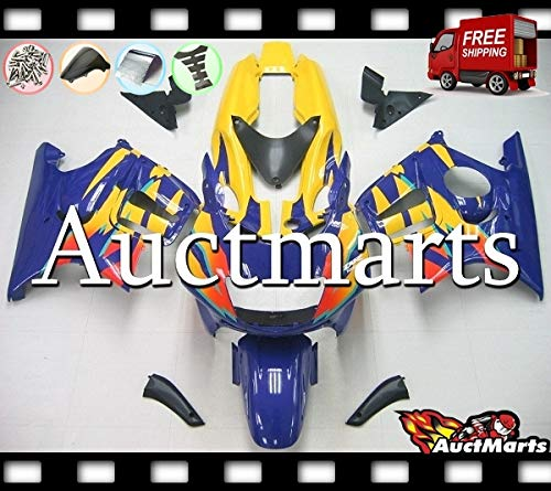 Auctmarts Injection Fairing Kit ABS Plastics Bodywork with FREE Bolt Kit for Honda CBR600F3 CBR 600 F3 1995 1996 1997 1998 Yellow Orange Blue (P/N:1p8)