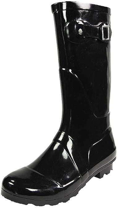 826ecff943282 NORTY - Womens Hurricane Wellie Solid Gloss Mid-Calf Rain Boot, Black 38734-