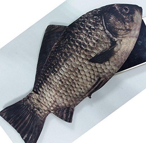 Morningrising carp fish like zipper pouch weird pen pencil for Realistic fish pencil case