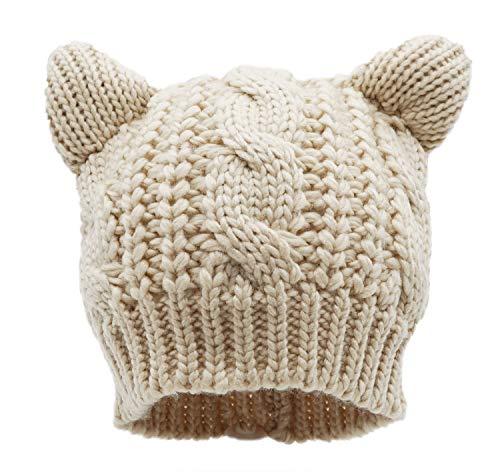 Bellady Kids Girls Cable Knit Children's Winter Hat Beanie with Cat Ear,Beige_Child