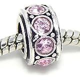 "Jewelry Monster Antique Finish ""Alexandrite Light Pink"" June Birthstone Spacer Charm Bead for Snake Chain Charm Bracelet"
