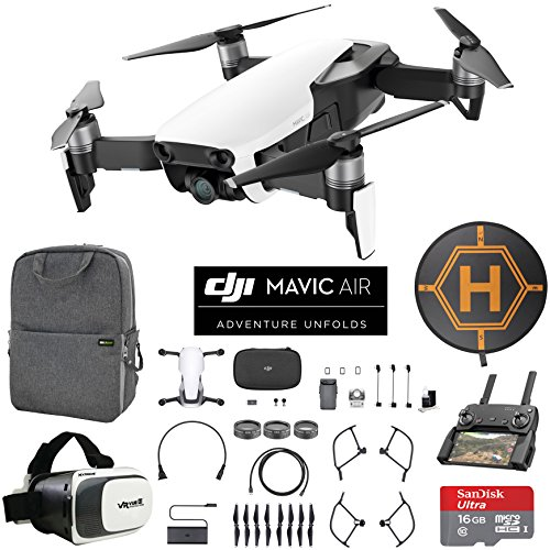 DJI Mavic Air (Arctic White) Drone Combo 4K Wi-Fi Quadcopter with Remote Controller Mobile Go Bundle with Backpack VR Goggles Landing Pad 16GB microSDHC Card and HD Filter Kit Arctic White Sphere