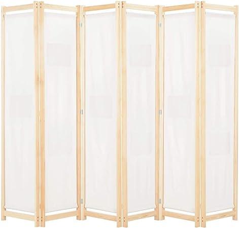 vidaXL Biombo Divisor de 6 Paneles de Tela Decoración Hogar Casa Jardín Bricolaje Salón Comedor Ambientes Habitaciones Separador 240x170x4 cm Crema: Amazon.es: Hogar