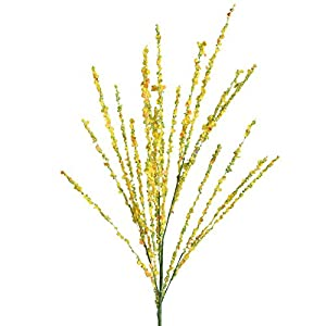 MaxFox 1 Pcs Branch Artificial flowers,Simulation Spring Blossom Floral Long Stem Arrangement in Vase for Home Decor (Yellow) 110