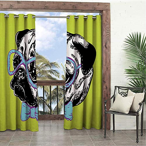 Linhomedecor Garden Waterproof Curtains Pug Cute Dog a Bow Tie and Nerdy Glasses on Green Shade Backdrop Apple Green Pale Blue Lavender Porch Grommet Panel Curtain 120 by 108 inch