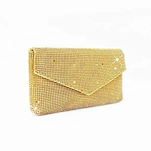 Songlin@yuan Women's Crystal Rhinestone Party Clutch Bag Envelope Evening Bag Wedding Dress Bag Shoulder Messenger Bag Black/Gold/Silver Size: 27 * 2 * 16cm (Color : Gold)