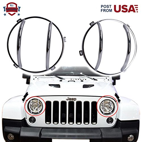BOXWELOVE 2Pieces Rusty Free Headlight Guards for Jeep Wrangler JK 2 Door & Unlimited 4 Door 2007-2016(Chrome)