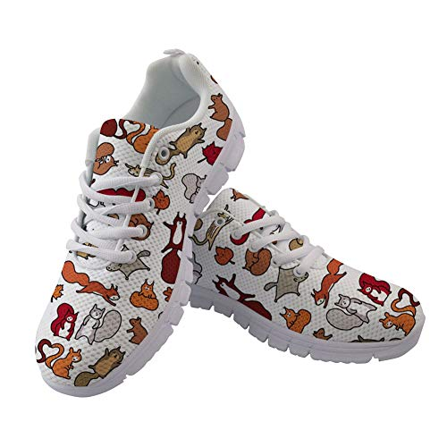 Lace Women Running Lightweight Men Mesh Doodle Walking Squirrels in Sneakers up for Fall Air Coloranimal Flats 81YEqwz8