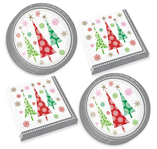 Christmas Paper Plates and Napkins - Colorful Contemporary Trees Dinner Plates and Luncheon Napkins (Serves 16)