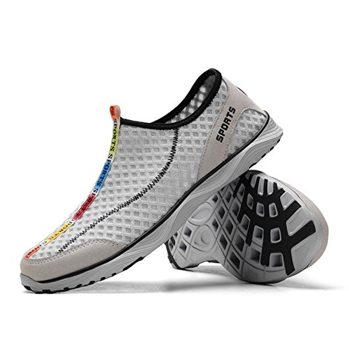 Scurtain Mens Casial Sport Mesh Water Shoes Outdoor Athletic Slip On Walking Sneakers Gray 412XThox3v