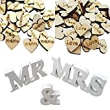 Mr and Mrs Sign Large Rustic Wedding Decorations iLoveCos Wedding Reception Anniversary Supplies Party Table Decorations Rustic Wedding Table Dispaly Hearts Confetti Scatter Crafts