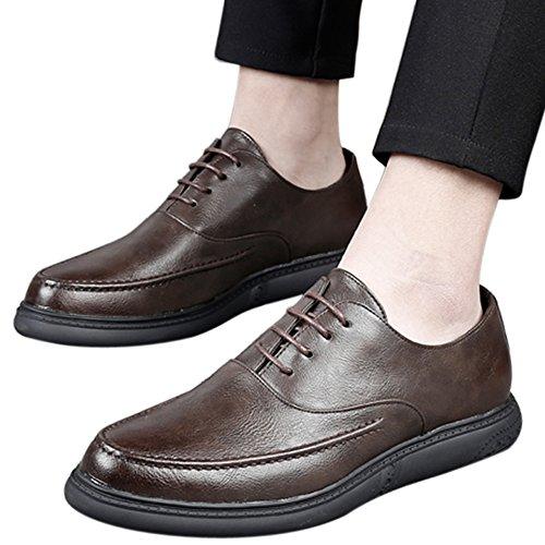 Santimon Chaussures Habillées Pour Hommes Perforés Casual Chaussures Brogue Dentelle Wing-tip Chaussures Oxford Brown1