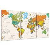 Kreative Arts - World MAP Canvas Art - Premium Canvas Art Print - Large Colorful Wall Art Deco - Canvas Picture Stretched on Wooden Frame As Modern Gallery Artwork