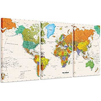 Amazon ezon ch modern art world map canvas print contemporary kreative arts world map canvas art premium canvas art print large colorful wall art deco canvas picture stretched on wooden frame as modern gallery gumiabroncs Image collections
