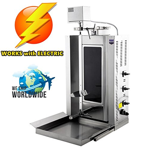 Full Electric, 20 kg/44 lbs Meat Capacity. Electric Thermal Glass Burners Rotating Spinning Grills Vertical Broiler Gyro Doner Kebab Rotisserie Shawarma Tacos Al Pastor Trompo Grill Machine 220V
