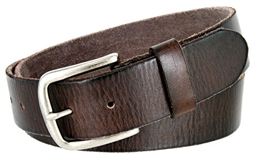 Genuine Belt (Classic Oil-tanned Genuine Leather Casual Jean Belt (Brown,)