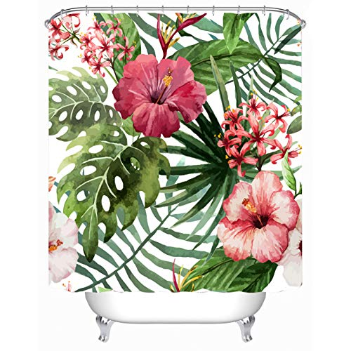 Cheerhunting Palm Leaf Decor Shower Curtain, Tropical Palm Leaf with Flowers, Fabric Bathroom Decor Set with Hooks, 72
