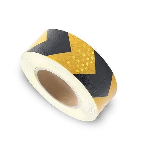 Onerbuy Waterproof Reflective Safety Hazard Caution Tape Yellow Black Striped Floor Marking Tape Self-adhesive Warning Sticker 2 Inch x 30 Feet