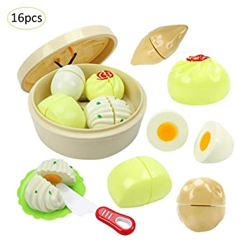 PER 16PCS Kitchen Toys Bun Chinese Snack Cutting Toys Set With Steamer Best Gift For Baby Kids Children