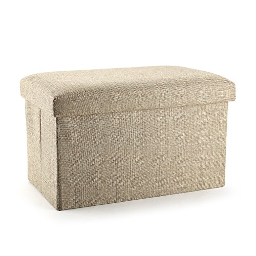 Ottoman Cube with Storage, Mee'life Linen Fabric Folding Organizer Storage Ottoman Basket Bins Boxes Containers with Lids for Office Home Foot Rest Stool/Seat 15