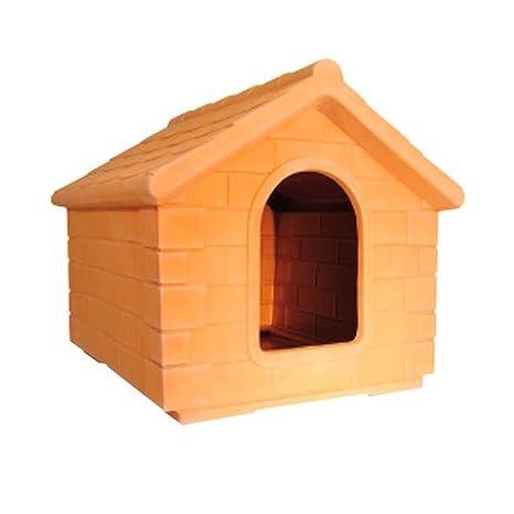 Caseta para perro 100% de resina para perro terracota robusta, resistente exterior jardín (