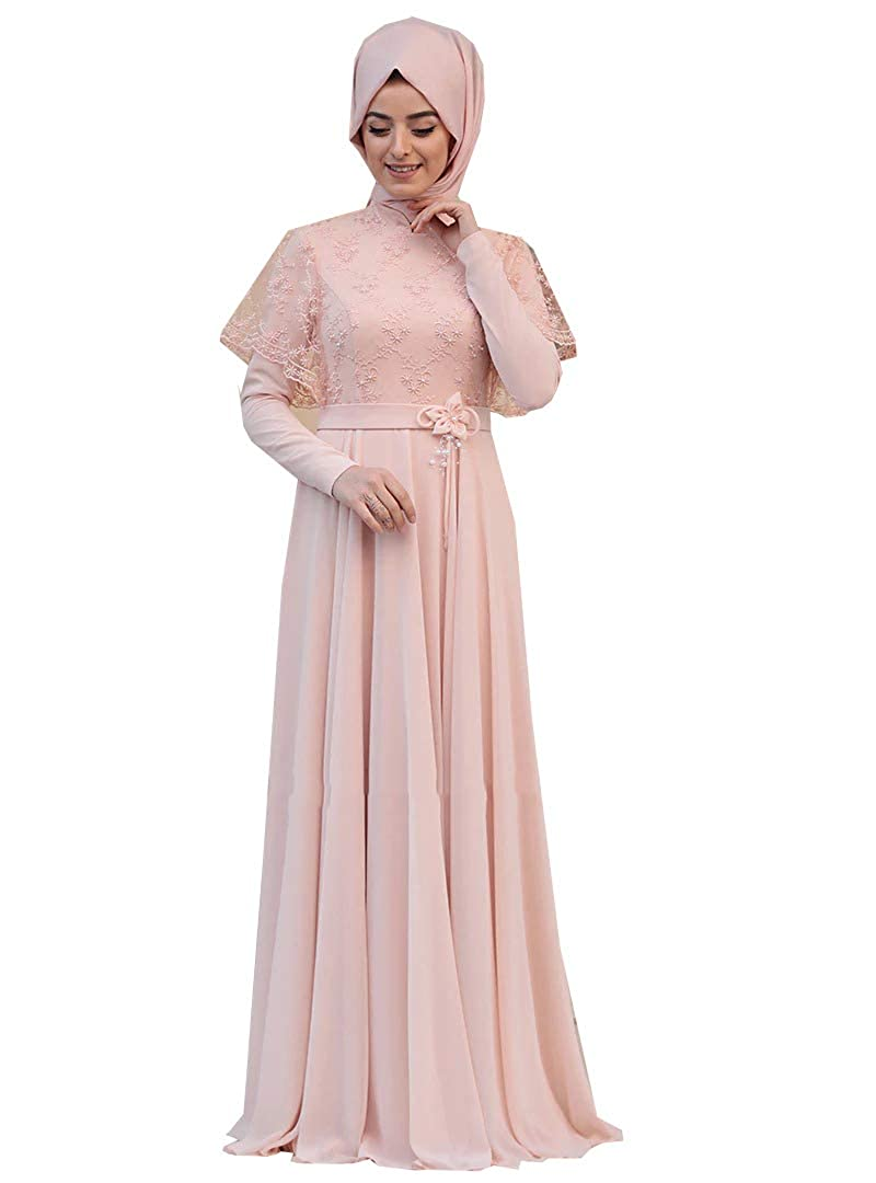 Zehrace Turkish Muslim Modesty Evening Dress Long Sleeves Fully Lined Crew Neck