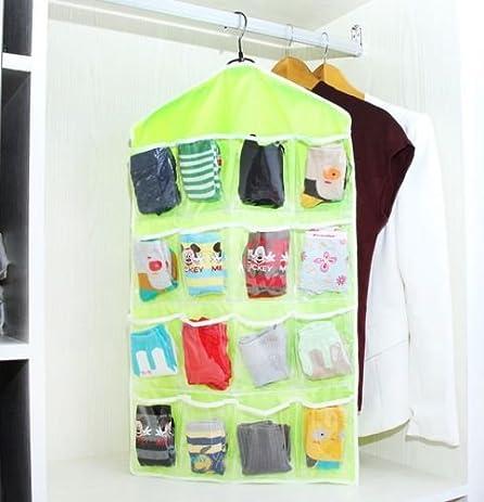 16 Pockets Clear Hanging Holder Shoes Sock Bra Underwear Organiser Hanger  Storage Rack Closet Bag (