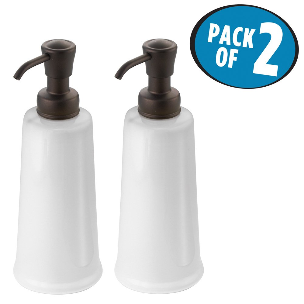 mDesign Liquid Hand Soap Ceramic Dispenser Pump Bottle for Kitchen, Bathroom | Also Can be Used for Hand Lotion & Essential Oils - Pack of 2, White/Bronze