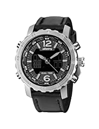 INFANTRY® Men's Analog Digital Quartz Wrist Watch Dual time with Black Genuine Leather Strap - silver