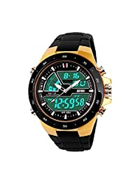Happy Hours - Stylish Unisex Waterproof Sport Watch / Dual Time Led Analog-Digital Display / Outdoor Wristwatch with Noctilucent Function(Gold)