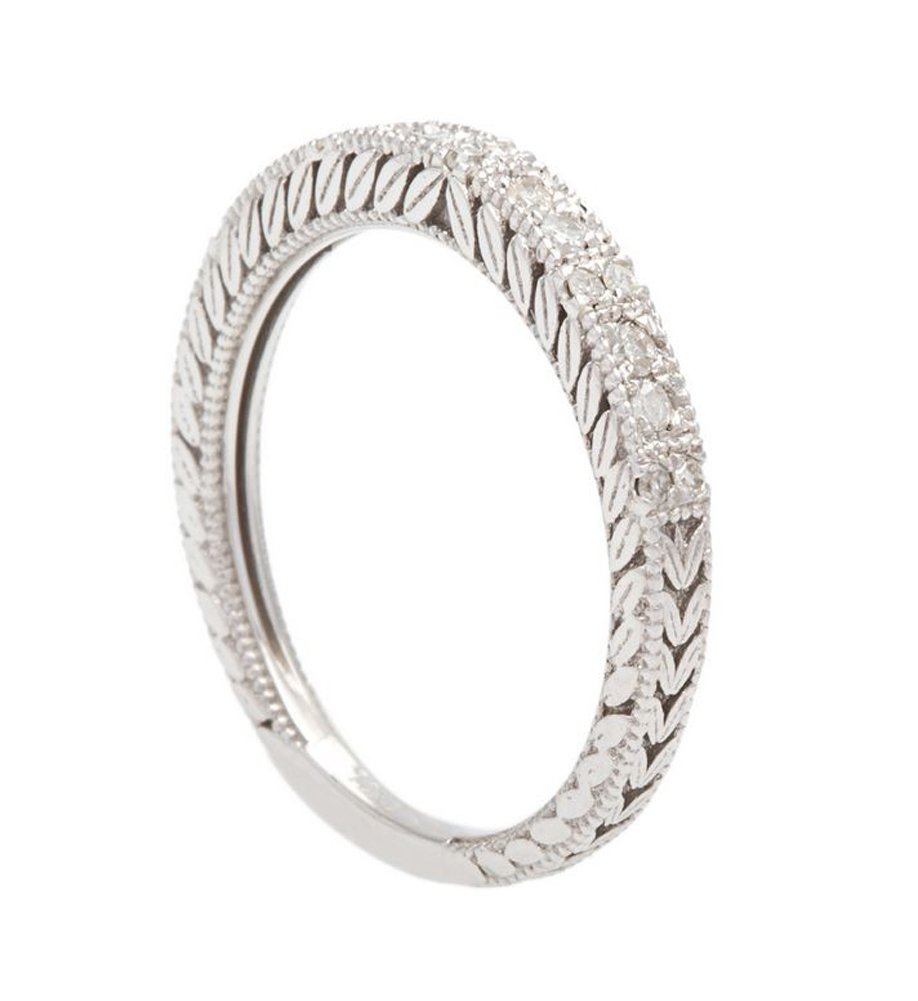 10k White Gold Vintage-Style Engraved Diamond Wedding Band (1/5 cttw, I-J, I2-I3) by Instagems (Image #2)